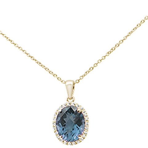 2.68ct Oval Blue Topaz 10k Yellow Gold Diamond Pendant Necklace 18""