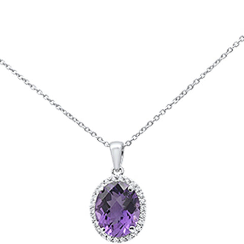 "2.31ct Oval Amethyst 10k White Gold Diamond Pendant Necklace 18"" Long"