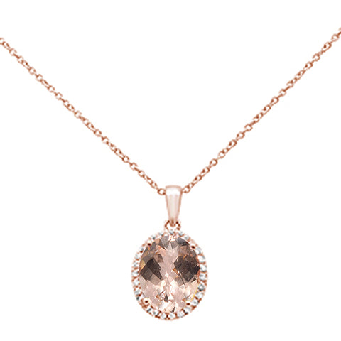 "2.70ct Oval Morganite 10k Rose Gold Diamond Pendant Necklace 18"" Long"
