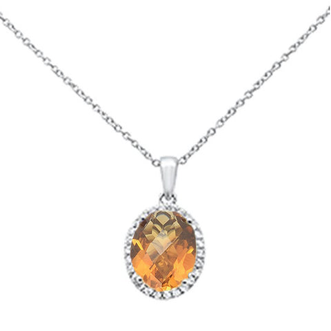"2.33ct Oval Citrine 10k White Gold Diamond Pendant Necklace 18"" Long"