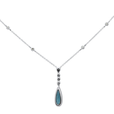 1.41cts 14k White Gold Natural Blue Topaz & Diamond Pendant Necklace 18""