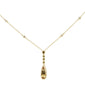 1.08ct 14k Yellow Gold Bezel Citrine & Diamond Drop Pendant Necklace 18""