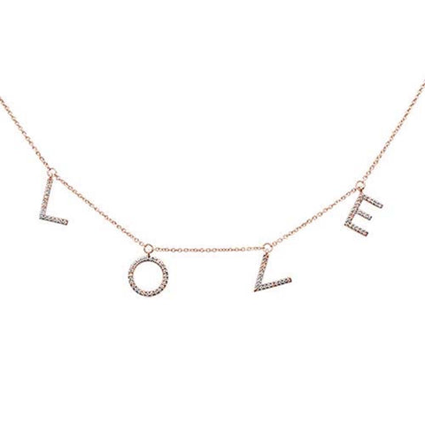 ".17ct 14kt Rose Gold ""LOVE"" Diamond Charm Pendant Necklace 16""+2"" Ext"
