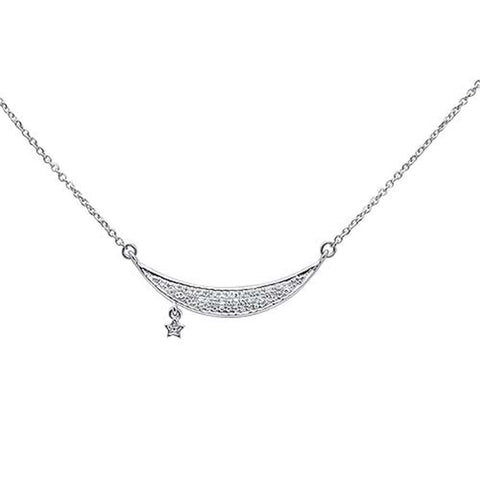 ".09ct 14kt White Gold Moon & Star Trendy Diamond Pendant Necklace 16""+2"""