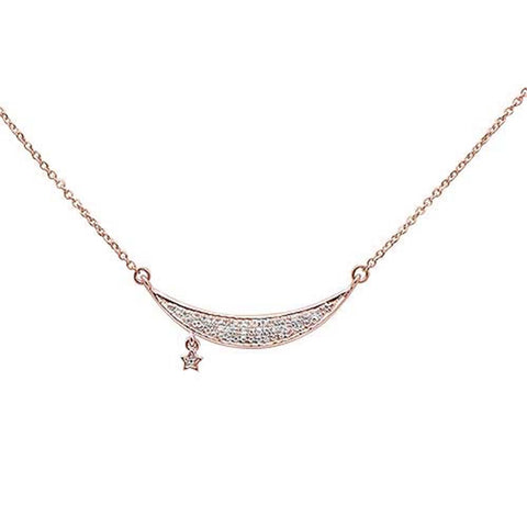 ".10ct 14kt Rose Gold Diamond Moon & Star Trendy Pendant Necklace 16""+2"" Ext"