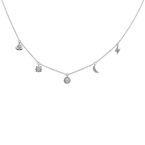 ".07ct 14kt White Gold Diamond Moon Star Heart Charm Pendant Necklace 16""+2"""