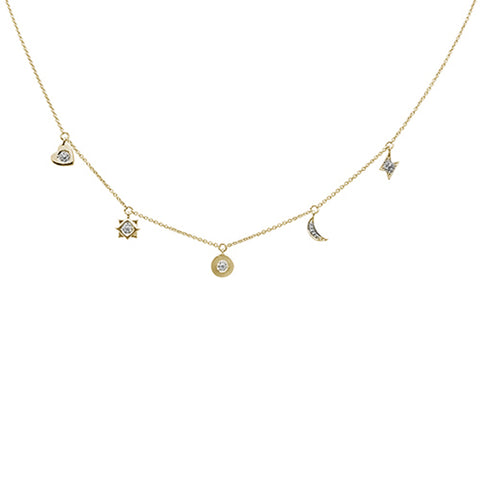 .07ct 14kt Yellow Gold Diamond Moon Star Heart Charm Pendant Necklace 16""