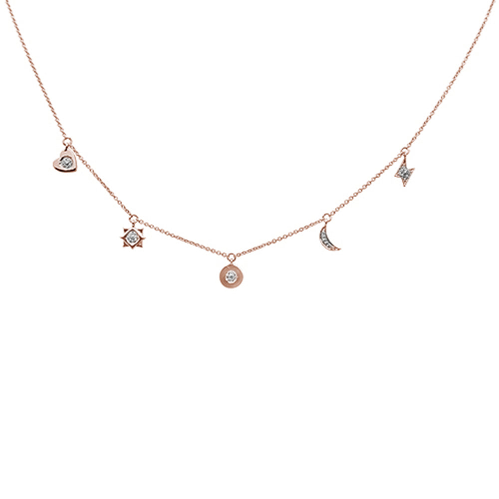 ".08ct 14kt Rose Gold Diamond Moon Star Heart Charm Pendant Necklace 16""+2"""