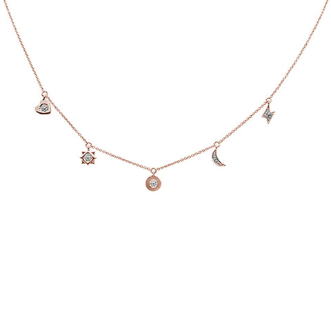 ".07ct 14kt Rose Gold Diamond Moon Star Heart Charm Pendant Necklace 16""+2"""