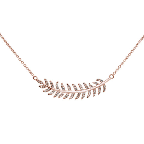".14ct 14kt Rose Gold Olive Branch Diamond Pendant Necklace 16""+2"" Ext"