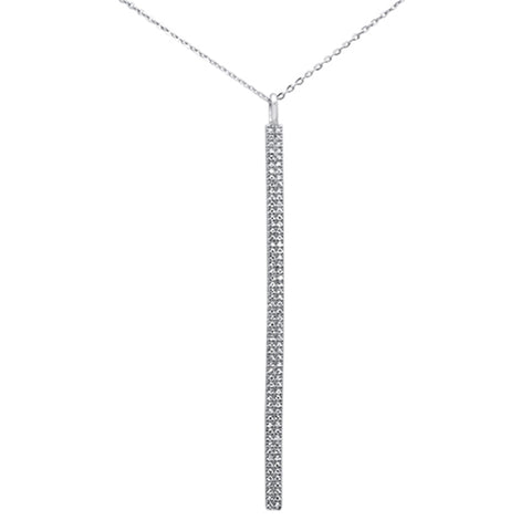".23ct 14kt White Gold Diamond Vertical Bar Drop Pendant Necklace 16""+2"" Ext"