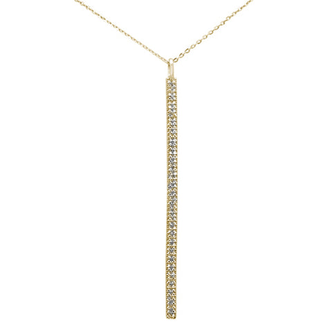 ".22ct 14kt Yellow Gold Diamond Vertical Bar Drop Pendant Necklace 16""+2"""