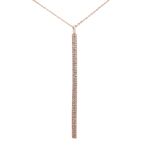 ".22ct 14kt Rose Gold Diamond Vertical Bar Drop Pendant Necklace 16""+2"" Ext"