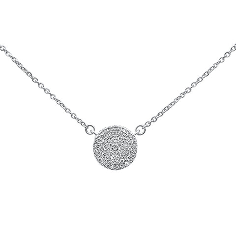 ".13ct 14kt White Gold Diamond Micro Pave Disc Solitaire Necklace 16""+2"""
