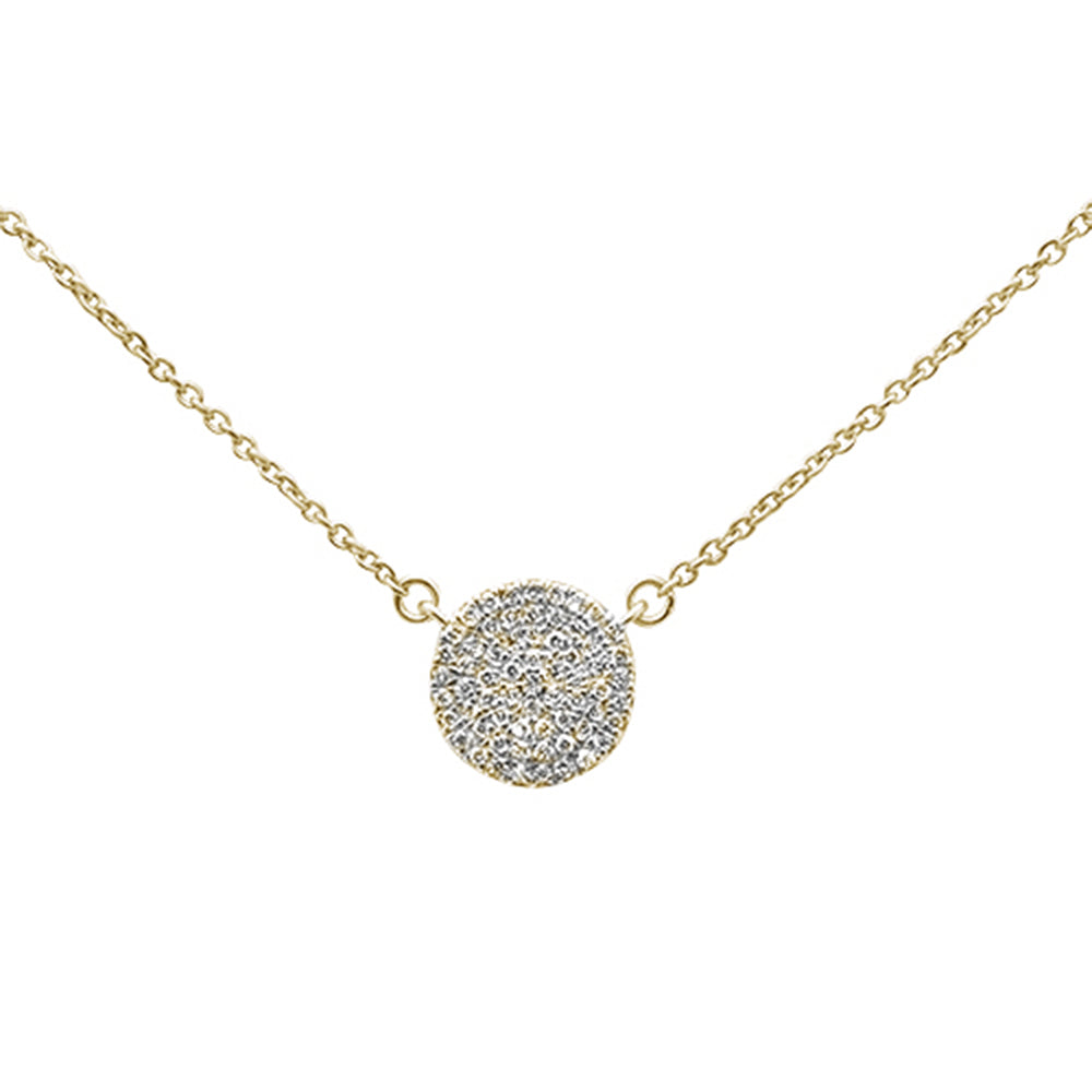 ".13ct 14kt Yellow Gold Diamond Micro Pave Disc Solitaire Necklace 16""+2"""