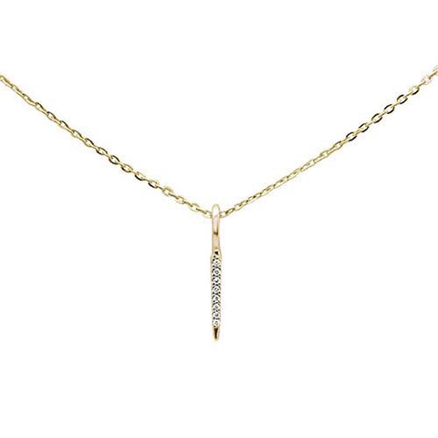 ".02ct 14kt Yellow Gold Trendy Diamond Vertical Drop Pendant Necklace 16""+2"""