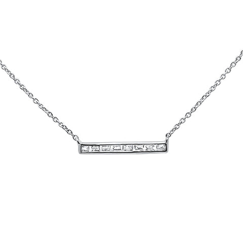 ".15ct 14kt White Gold Baguette Diamond Trendy Bar Pendant Necklace 16""+2"""