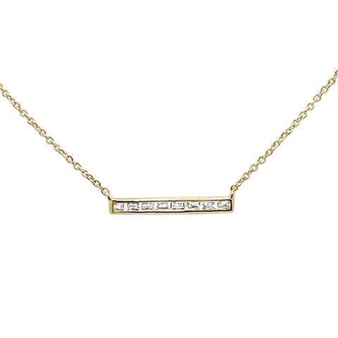".15ct 14kt Yellow Gold Baguette Diamond Trendy Bar Pendant Necklace 16""+2"""