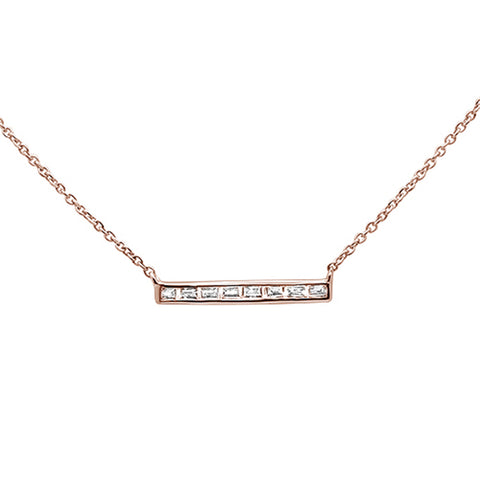 ".16ct 14kt Rose Gold Baguette Diamond Trendy Bar Pendant Necklace 16""+2"""