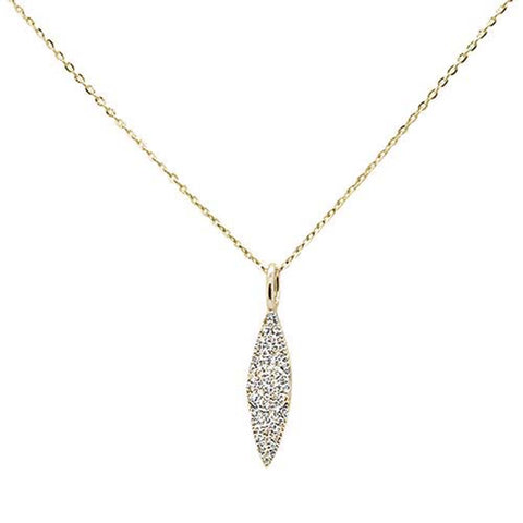 ".09ct 14kt Yellow Gold Trendy Diamond Drop Dangle Pendant Necklace 16""+2"""
