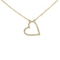 ".11ct 14kt Yellow Gold Trendy Sideways Heart Diamond Pendant Necklace 16""+2"