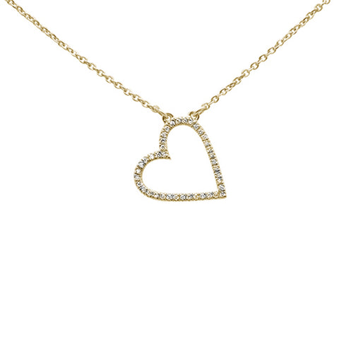 ".08ct 14kt Yellow Gold Trendy Sideways Heart Diamond Pendant Necklace 16""+2"