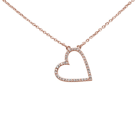 ".08ct 14kt Rose Gold Trendy Sideways Heart Diamond Pendant Necklace 16""+2"""