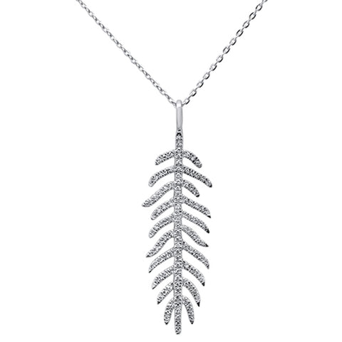 ".18ct 14kt White Gold Diamond Feather Pendant Necklace 16""+2"" Ext"