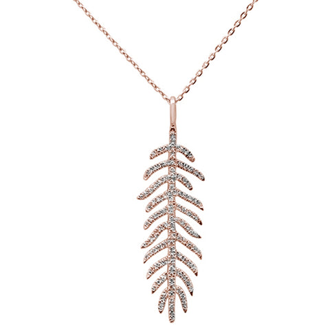 ".17ct 14kt Rose Gold Diamond Feather Pendant Necklace 16""+2"" Ext"