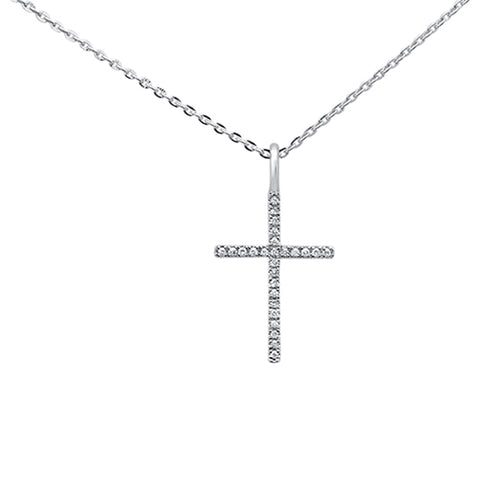 ".05ct 14kt White Gold Diamond Cross Pendant Necklace 16""+2"" Ext"