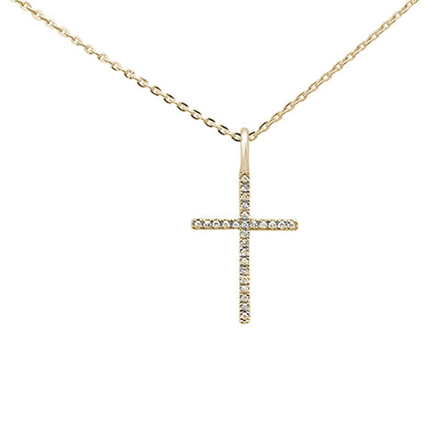 ".06ct 14kt Yellow Gold Diamond Cross Pendant Necklace 16""+2"" Ext"