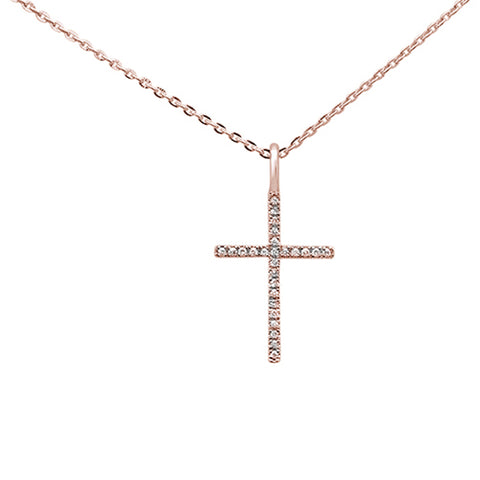 ".05ct 14kt Rose Gold Diamond Cross Pendant Necklace 16""+2"" Ext"