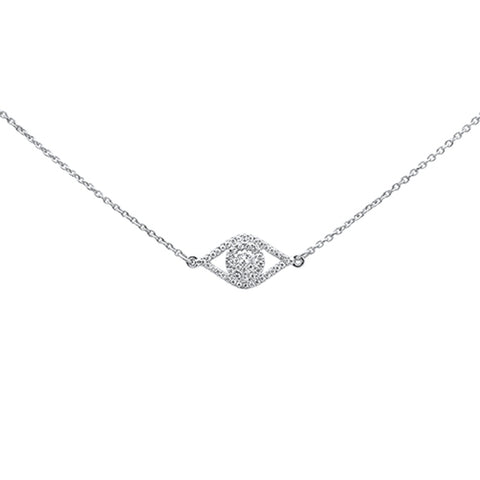 ".11ct 14kt White Gold Diamond Evil Eye Hamsa Pendant Necklace 16""+2"" Ext"