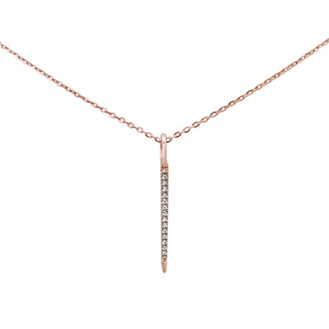".03ct 14kt Rose Gold Diamond Drop Dangle Pendant Necklace 16""+2"" Ext"