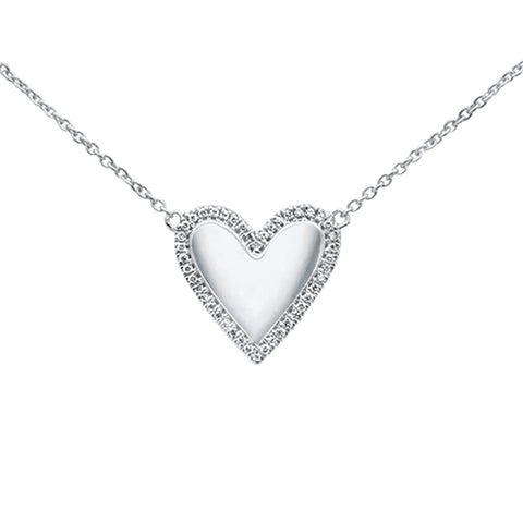 ".10ct 14kt White Gold Heart Diamond Pendant Necklace 16""+2"" Ext"