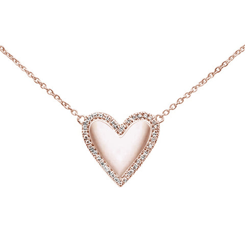 ".09ct 14kt Rose Gold Diamond Heart Pendant Necklace 16""+2"" Ext"