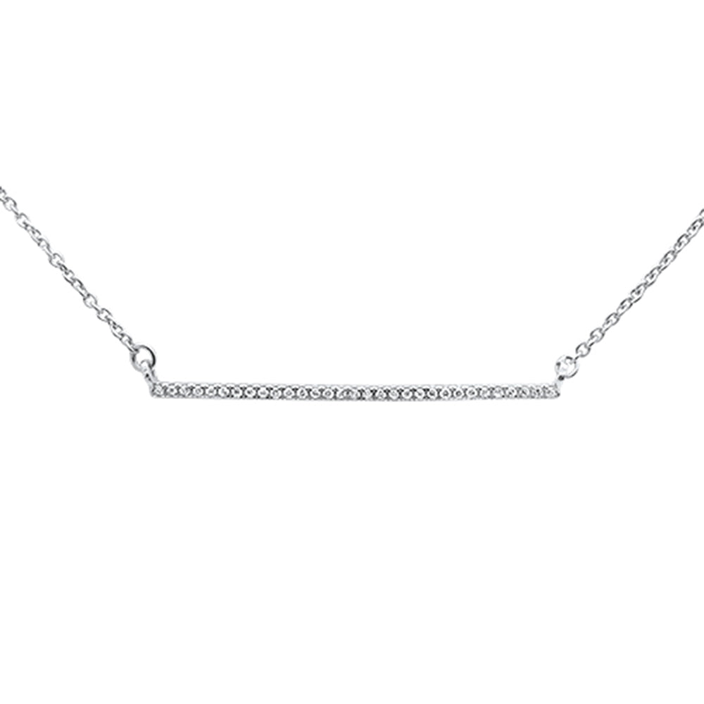 ".06ct 14kt White Gold Trendy Diamond Bar Pendant Necklace 16""+2"" Ext"
