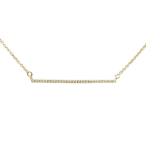 ".07ct 14kt Yellow Gold Trendy Diamond Bar Pendant Necklace 16""+2"" Ext"