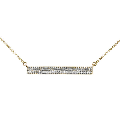 ".29ct 14kt Yellow Gold MicroPave Trendy Bar Pendant Necklace 16""+2"""