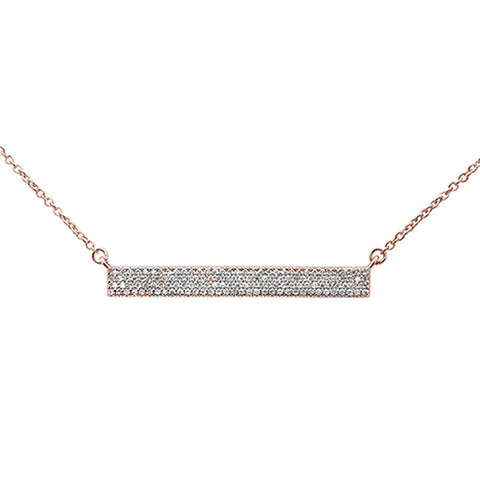".28ct 14kt Rose Gold Diamond MicroPave Trendy Bar Pendant Necklace 16""+2"""