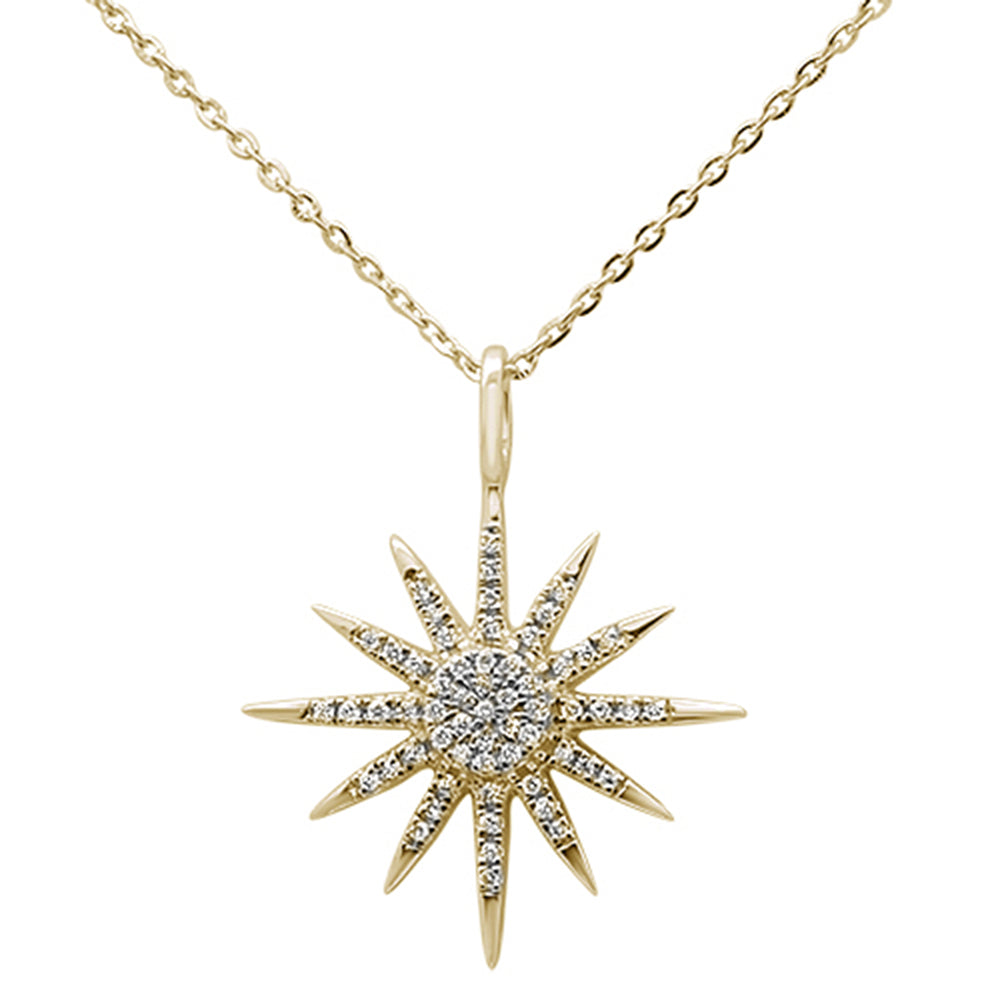 ".12ct 14kt Yellow Gold Trendy Starburst Pendant Necklace 16""+2"" Ext"