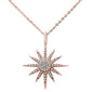 ".12ct 14kt Rose Gold Diamond Trendy Starburst Pendant Necklace 16""+2"" Ext"