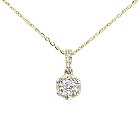 ".29ct 14kt Yellow Gold Solitaire Diamond Pendant Necklace 16""+2"" Ext"