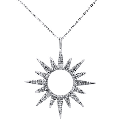 ".42ct 14kt White Gold Starburst Diamond Pendant Necklace 16""+2"" Ext"