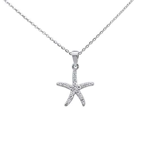 ".17ct 14kt White Gold Starfish Diamond Pendant Necklace 16""+2"" Ext"