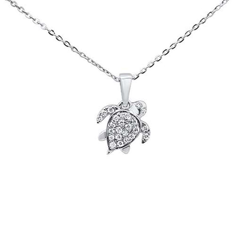 ".14ct 14kt White Gold Turtle Love Diamond Pendant Necklace 16""+2"" Ext"