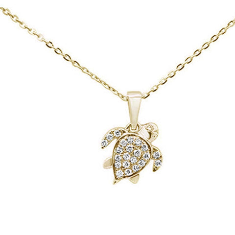 ".13ct 14K Yellow Gold Round Cute Turtle Diamond Pendant Necklace 16""+ 2"" Ext."