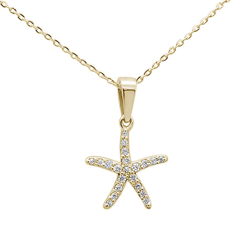 ".11ct 14K Yellow Gold Round Diamond Starfish Pendant Necklace 16""+ 2"" Ext."