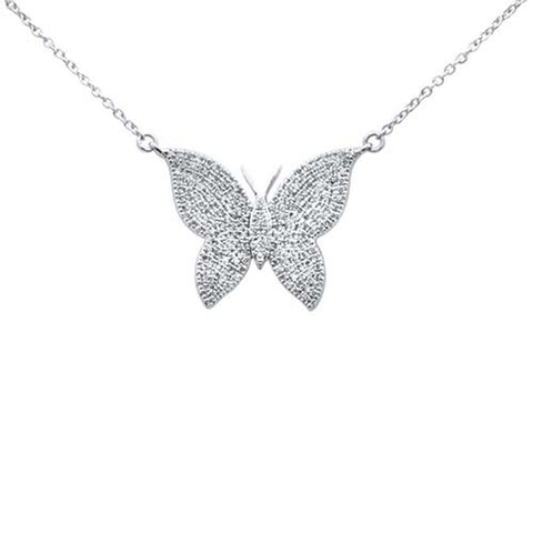 ".41ct 14k White Gold Diamond Butterfly Mariposa Pendant Necklace 16""+2"" Ext"