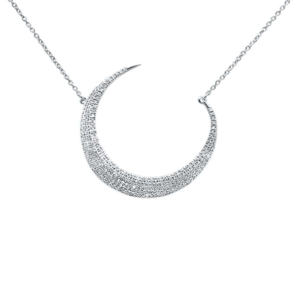 "<span style=""color:purple"">SPECIAL!</span>.35ct 14kt White Gold Crescent Moon Diamond Pendant Necklace 16""+2"" Ext"